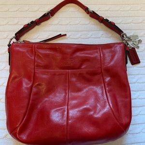 🌟COACH red genuine leather hobo bag